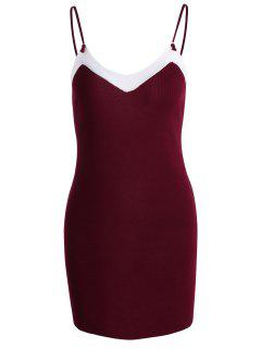 Contrast Cami Knitted Dress - Deep Red