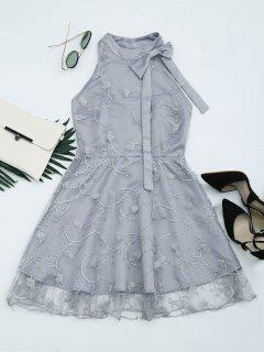 Mesh Panel Bowknot Embellished Flare Dress - Gray S