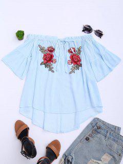Floral Embroidered Off Shoulder Top - Light Blue Xl