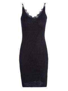 Lace Panel Side Slit Knitted Dress - Black
