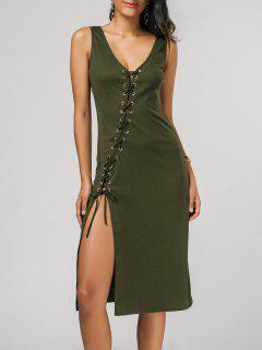Bias Cut Lace Up Pencil Tank Dress - Army Green M