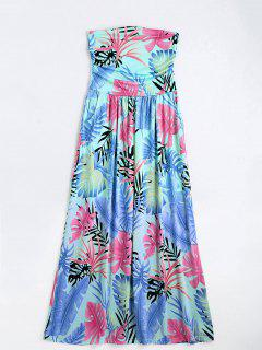 Leaves Print Strapless Maxi Dress - Multi S
