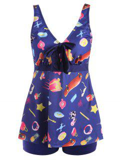 Printed Padded Plus Size Tankini Set - Purplish Blue Xl