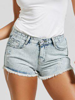 Destroyed Frayed Hem Denim Mini Shorts - Light Blue M