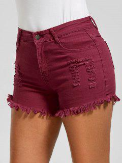 Skinny Ripped Frayed Hem Denim Shorts - Wine Red S