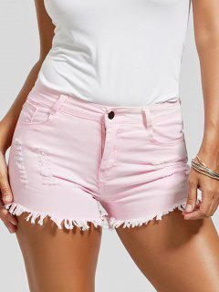 Skinny Ripped Frayed Hem Denim Shorts - Pink S