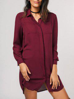 Button Up Shirt Casual Mini Dress - Wine Red L