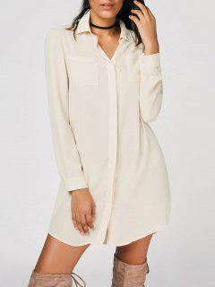 Button Up Shirt Casual Mini Dress - Off-white S