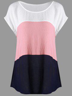 Plus Size Cap Sleeve Crinkle Blouse - 5xl