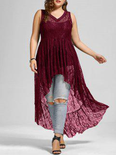 High Low See Through Lace Plus Size Top - Wine Red 5xl