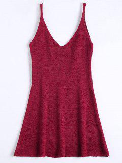 Mini Cami A Line Dress - Deep Red