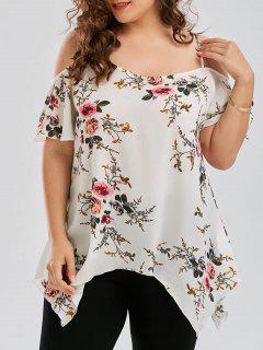 Plus Size Dew Shoulder Tiny Floral Blouse - White 4xl