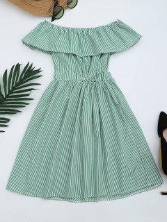 Open Back Striped Off The Shoulder Dress - Green M