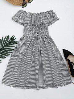 Open Back Striped Off The Shoulder Dress - Black L