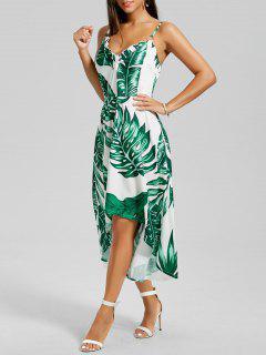 Palm Leaf Print High Low Slip Dress - White M