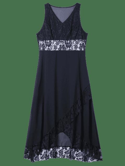 fancy Plus Size Lace Trim Tulip Maxi Dress - BLACK 3XL Mobile