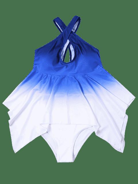 Tankini à grande taille à couleur dégradée convertible et asymétrique - Bleu et Blanc XL Mobile