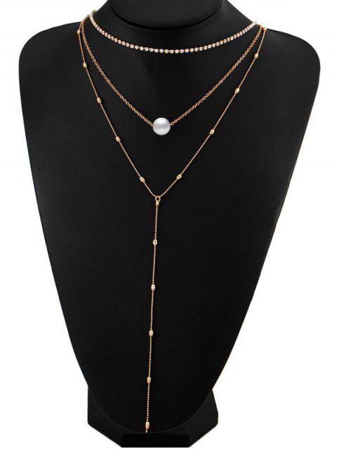 Collier en perles Faux Pearl strass en couches - Or  Mobile