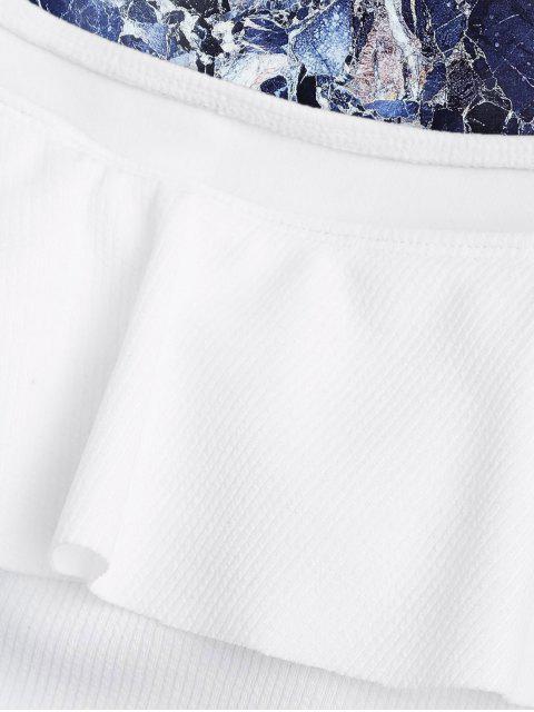 Maillots de bain à une pièce texturé épaules dénudés - Blanc M Mobile