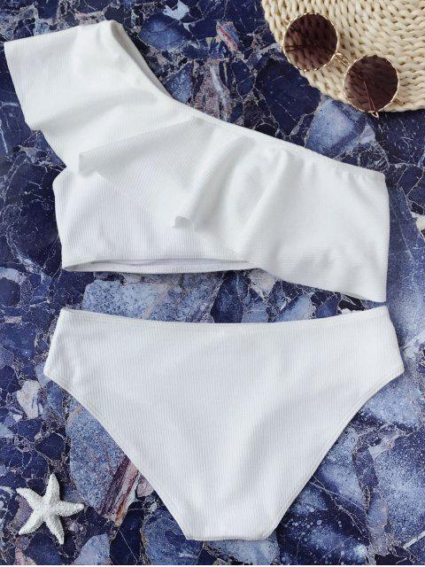 sale Textured Ruffle One Shoulder Bikini Set - WHITE L Mobile