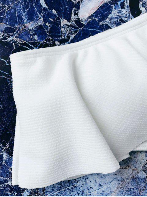 buy Textured Ruffle One Shoulder Bikini Set - WHITE S Mobile