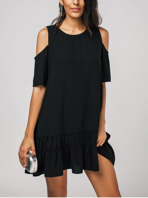 ladies Cold Shoulder Flared Shift Dress - BLACK XL Mobile