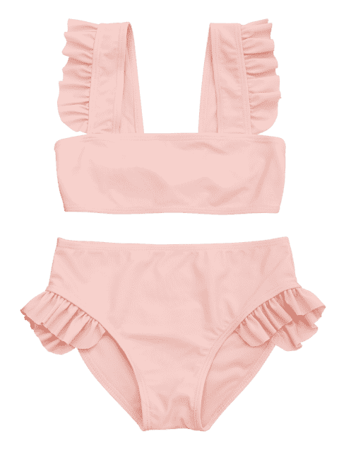 womens Tie Back Frilled Girls Bikini Set - ORANGEPINK 5T Mobile