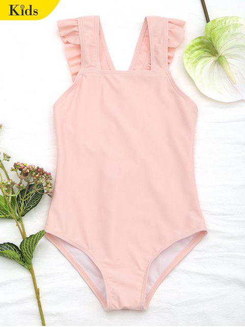 Maillot de bain col carré à volants - Orange Rose 6T Mobile