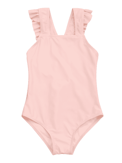 lady Square Neck Frilled Girls Swimwear - ORANGEPINK 7T Mobile