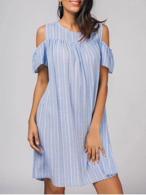 ladies Stripes Cold Shoulder Casual Dress - STRIPE L Mobile