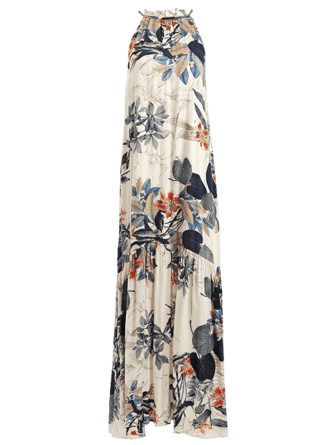 maxi robe à motif de feuilles à col halter sans manches - Floral L Mobile