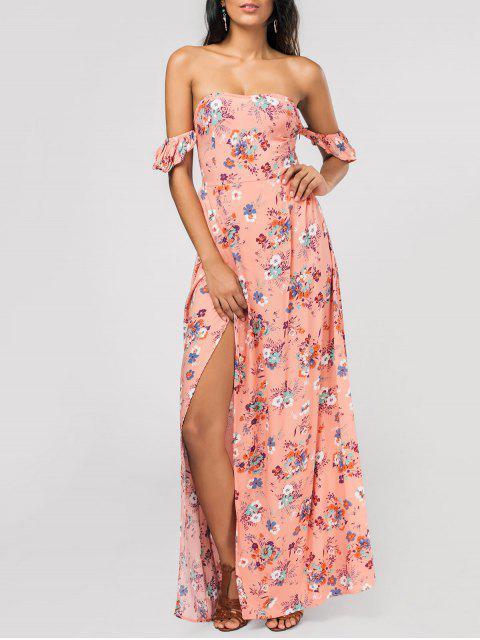 Maxi Schulterfreies Blumenkleid mit hohem Schlitz und Rüschen - Pink M Mobile