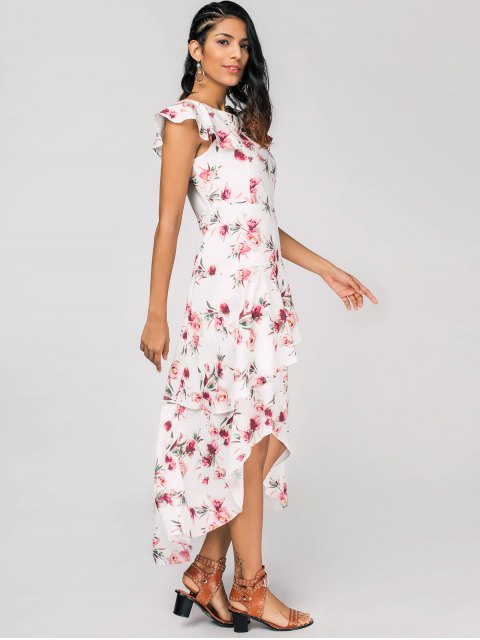 best Layered Floral High Low Maxi Dress - WHITE L Mobile