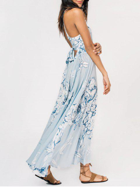 unique Floral High Slit Back Cutout Tied Maxi Dress - LIGHT BLUE M Mobile