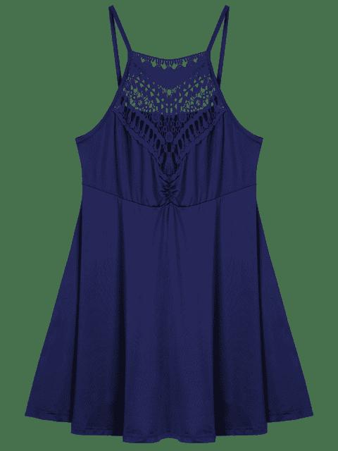 A ligne robe à grande taille en dentelle avec empoècement - Bleu Violet 3XL Mobile