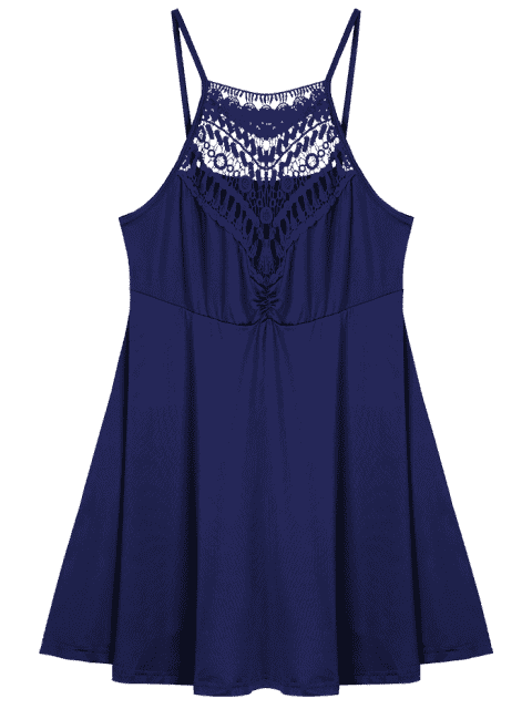 unique Plus Size Lace Trim Empire Waist Slip Dress - PURPLISH BLUE 4XL Mobile