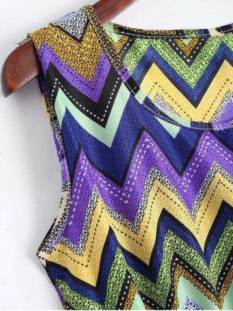 Smokeed Panel Geometric A Line Mini Dress - Pourpre S Mobile
