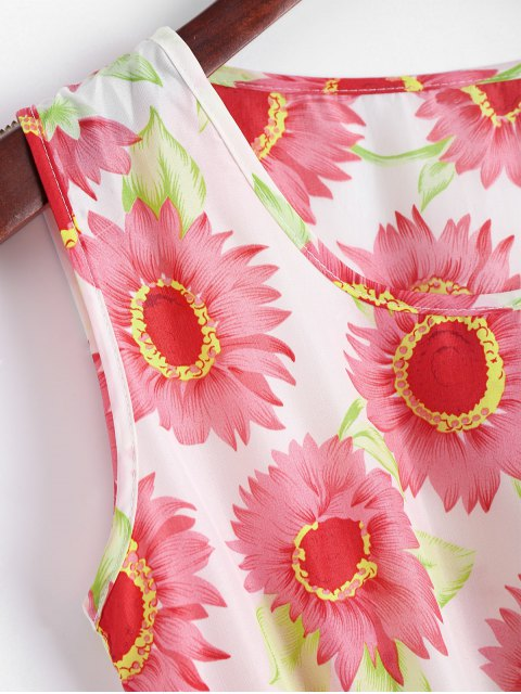 buy Smocked Waist Floral A Line Dress - RED S Mobile