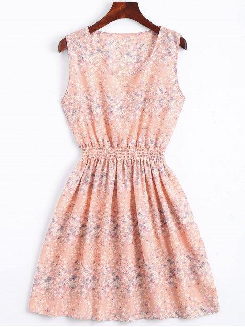 best Smocked Waist Floral A Line Dress - PINK M Mobile