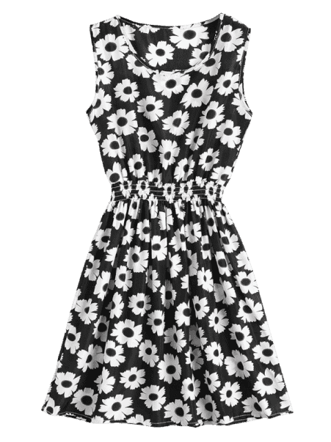 outfits Smocked Waist Floral A Line Dress - WHITE AND BLACK M Mobile