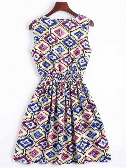 Smokeed Panel Geometric A Line Mini Dress - Bleu S Mobile