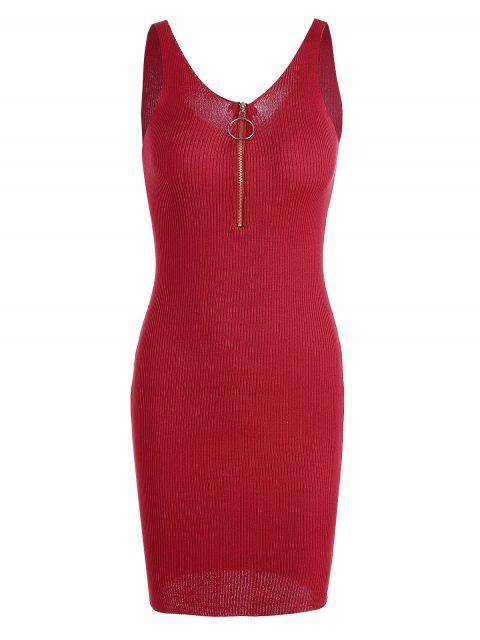 fashion Plunging Neck Ribbed Knitted Bodycon Dress - RED ONE SIZE Mobile