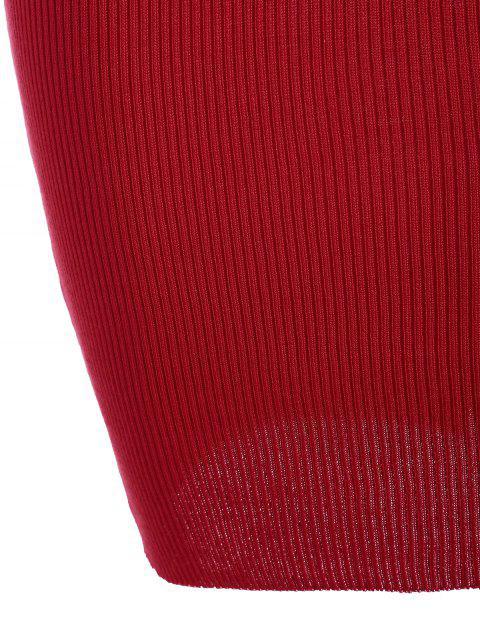 Robe courte en tricot côtelé à col ras du cou - Rouge TAILLE MOYENNE Mobile