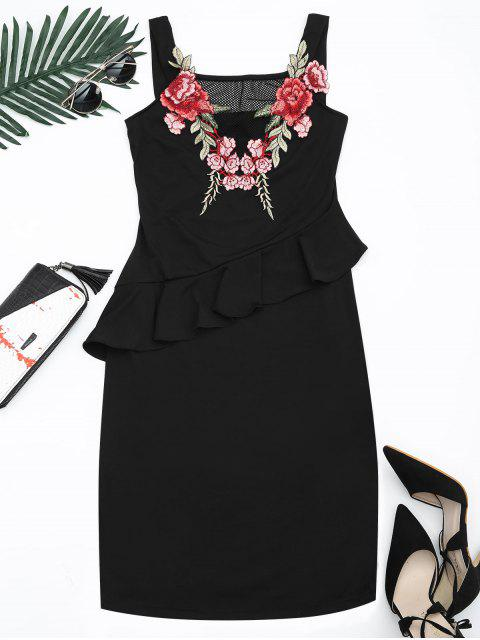 sale Floral Patched Ruffle Hem Bodycon Dress - BLACK S Mobile