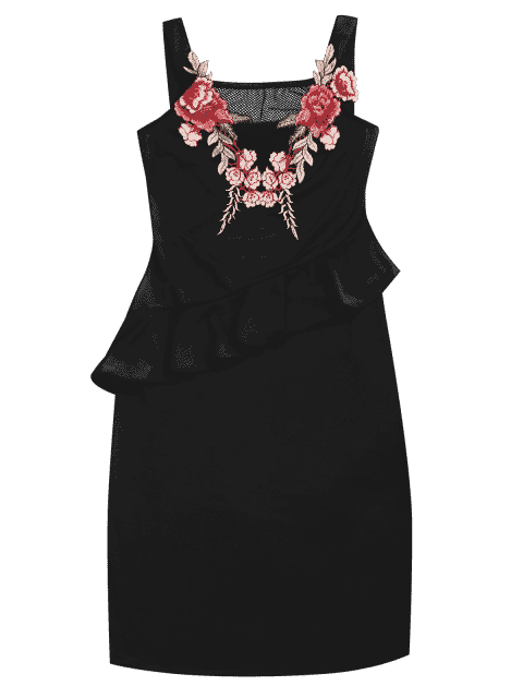 buy Floral Patched Ruffle Hem Bodycon Dress - BLACK M Mobile