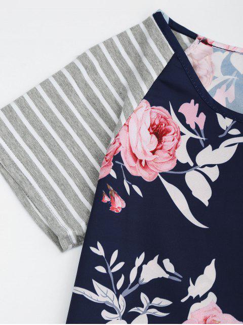 Robe à Imprimé Floral à Manches Rayures - Floral 2XL Mobile