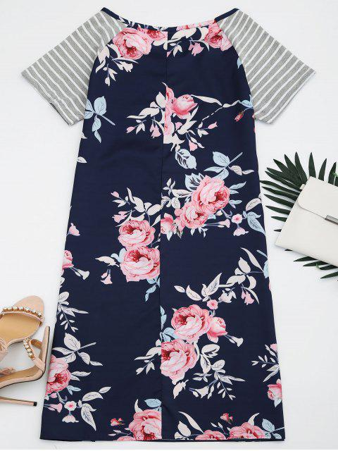 latest Striped Sleeve Floral Print Dress - FLORAL 2XL Mobile