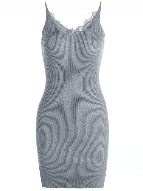 women Lace Panel Side Slit Knitted Dress - GRAY ONE SIZE Mobile