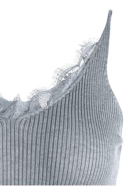 Robe Tissée Panel en Dentelle Avec Fente Latérale - Gris TAILLE MOYENNE Mobile