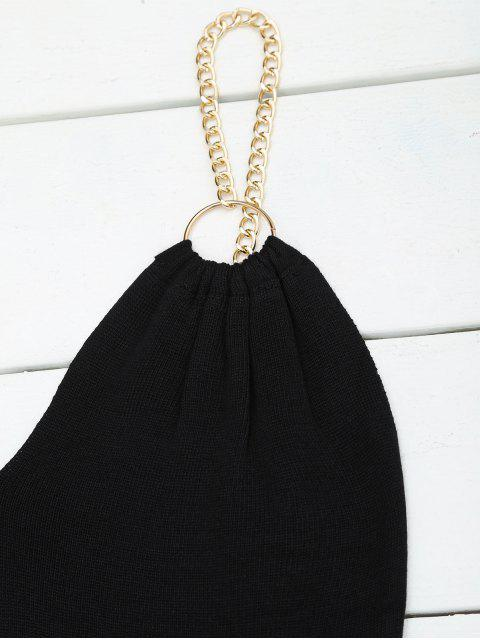 ladies Ring Embellished Knitted Flare Dress - BLACK ONE SIZE Mobile